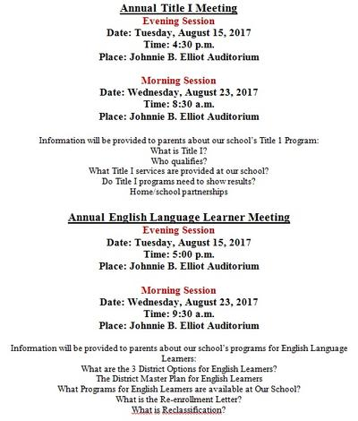 Annual Title I and ELL Meetings