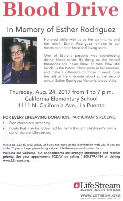 Esther Rodriguez Memorial Blood Drive