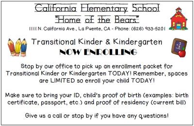 TK and Kinder Enrollment for the 2018-2019 School Year